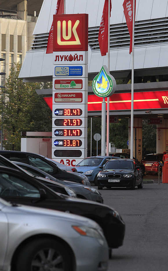 A Lukoil petrol station in Moscow.