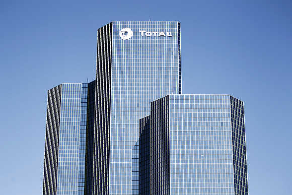 View of French oil giant Total headquarters in the financial district of La Defense near Paris.