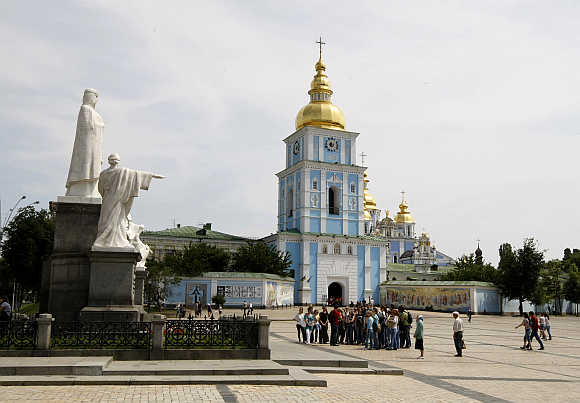 A view of Mikhailovskaya Square in Kiev, Ukraine.