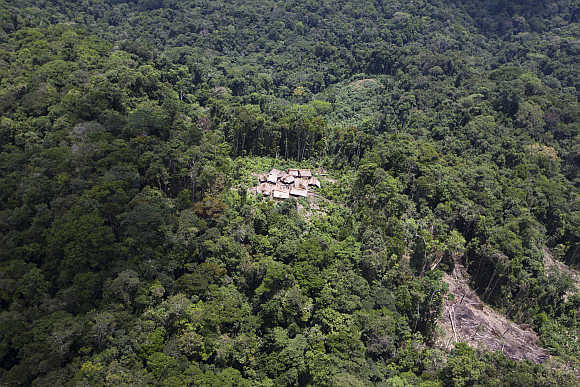 An aerial view shows the Yanomami Indian community of Irotatheri in the southern Amazonas state of Venezuela.