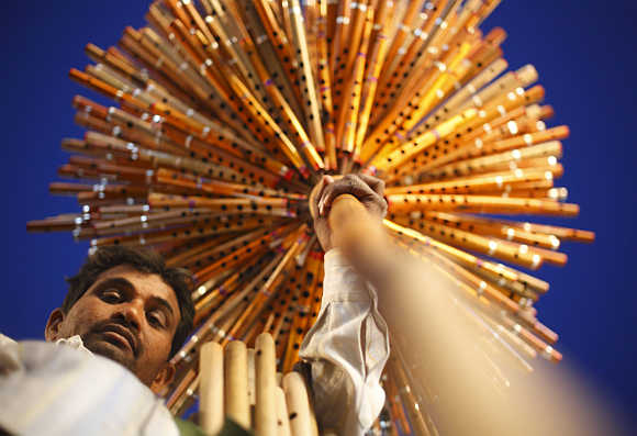 A street vendor sells bamboo flutes in Kathmandu.