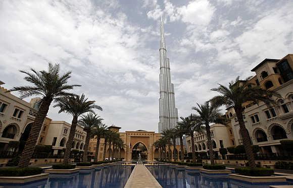 A view of Burj Khalifa from Al Qasr hotel in the Old Town, Dubai.