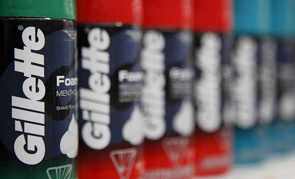 Procter & Gamble's Gillette shaving foam on display in Chicago.