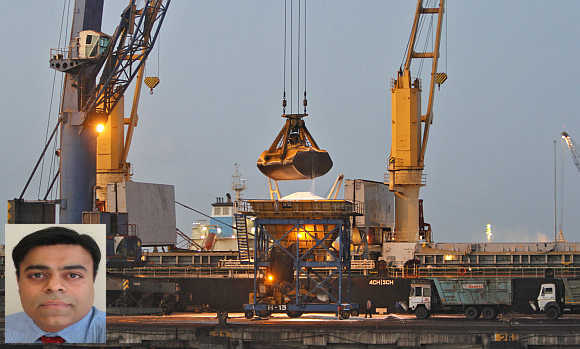 Pravin Krishna, inset. A view of Mundra Port in Gujarat.