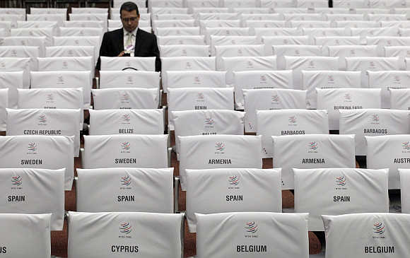 Names of countries taking part at the World Trade Organisation conference in Geneva.