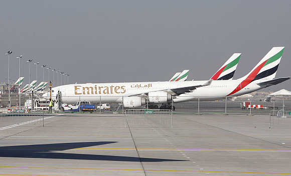 Emirates Airlines at Dubai Airport.