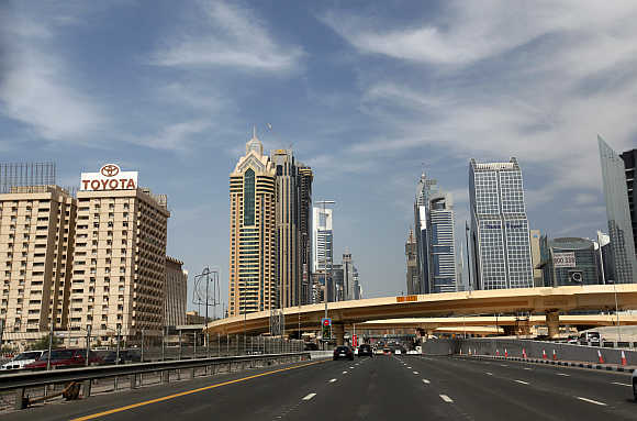 High-rise residential and office towers are seen near Sheikh Zayed Road i