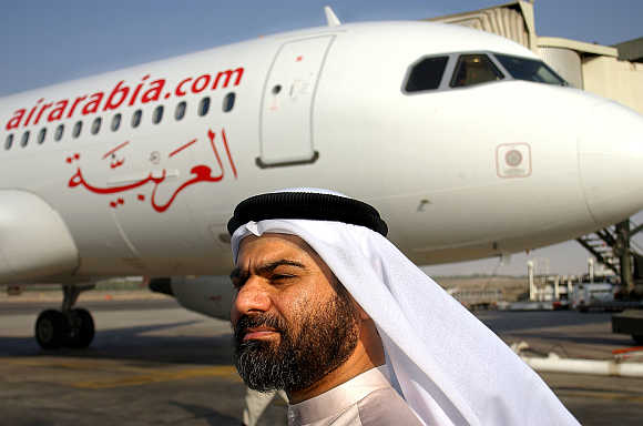 Air Arabia Airbus 320 at Sharjah airport.