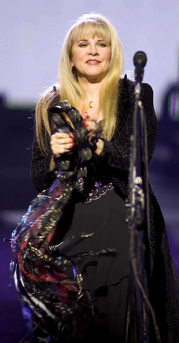 US recording artist Stevie Nicks plays a tambourine at The Colosseum at Caesars Palace in Las Vegas.