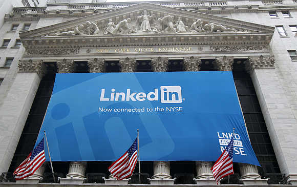 Banner announcing Linkedin listing on the New York Stock Exchange.
