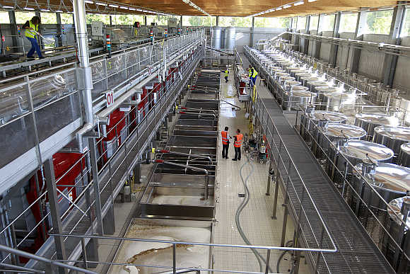 Rows of stainless steel vats used to make champagne are seen at Maison Moet et Chandon in Epernay, France.