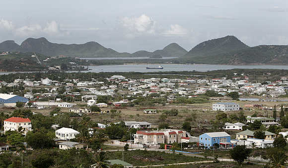 A view of St John's on the Caribbean island of Antigua.