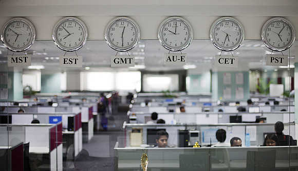 An outsourcing centre in Bangalore.