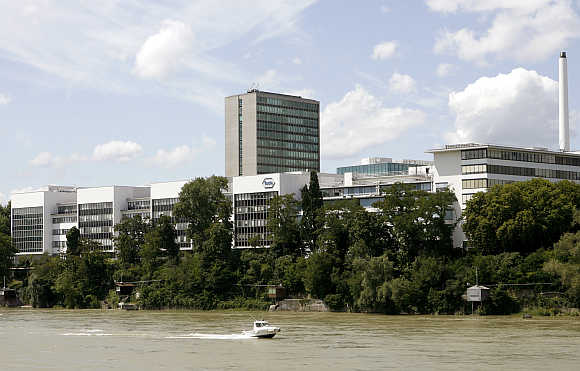 A view shows the plant of Swiss pharmaceutical company Roche, owner of Genentech, and the Rhine River in Basel, Switzerland.