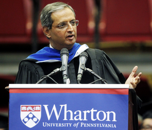 Citigroup CEO Vikram Pandit speaks at the University of Pennsylvania's Wharton School MBA graduation ceremony at the Palestra.