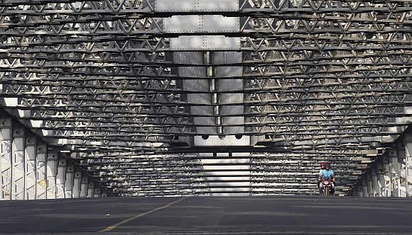 A view of Howrah Bridge in Kolkata.