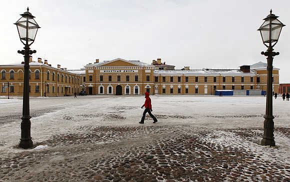 A pedestrian walks past the Monetny Dvor mint in Peter and Pawel Fortress, St Petersburg. Photo is for representation purpose only.