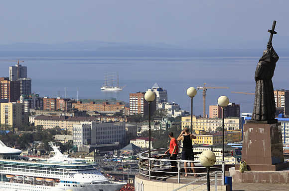 A view over the Golden Horn bay towards the Sea of Japan past a statue of Saints Cyril and Methodius in the city of Vladivostok. Photo is for representation purpose only.