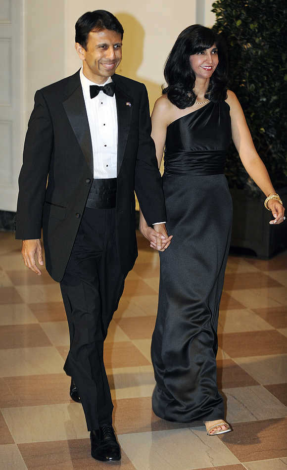 Louisiana Governor Bobby with his wife Supriya Jindal at the White House in Washington, DC.