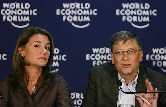 Bill with his wife Melinda at the World Economic Forum in Davos, Switzerland.