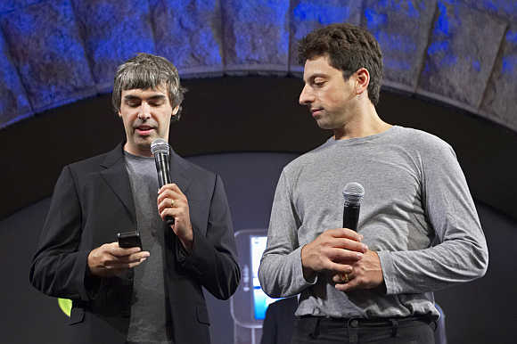 Larry Page, left, and Sergey Brin, founders of Google, in New York.