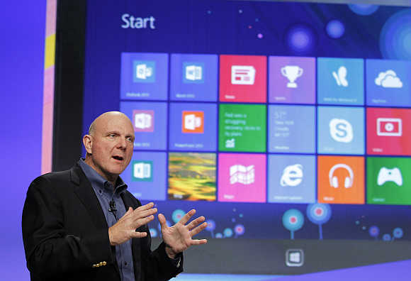 Microsoft CEO Steve Ballmer launches Windows 8 operating system in New York.