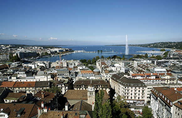 A view of the jet d'eau, or water fountain, and the Lake Leman from the St-Pierre Cathedrale in Geneva.