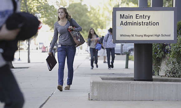 Students make their return to Whitney Young High School in Chicago.