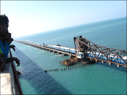 A view of the Pamban Railway Bridge that links Rameshwaram to the mainland.