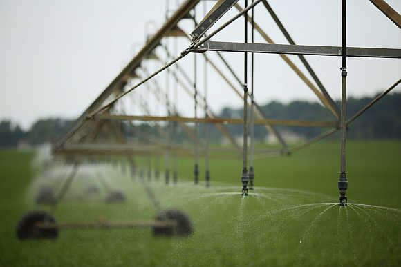 A pivot-irrigation system in Mill Creek, Indiana, United States.