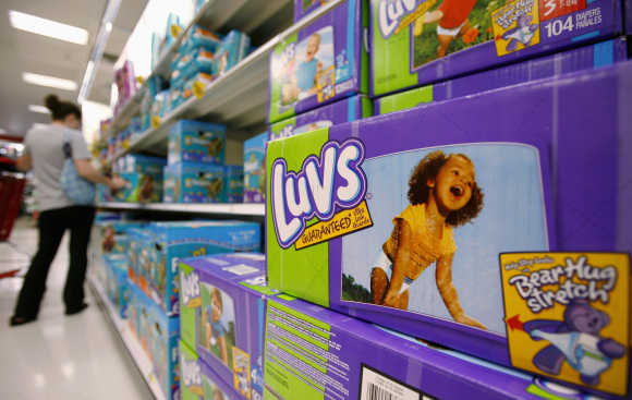 Luvs Diapers, a Procter and Gamble product, are displayed on a shelf in a store in Alexandria, United States.
