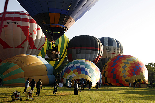 Hot air balloons are prepared to fly during the 2008 Sri Lanka Balloon Festival at Sigiriya.
