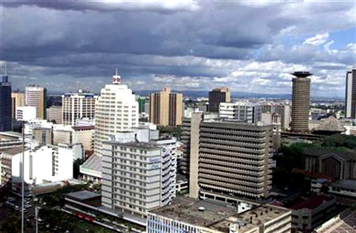 An aerial view of Kenya captial city Nairobi.