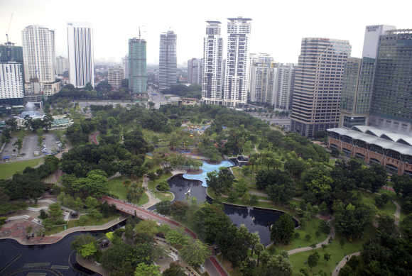 General view shows KLCC Park in central Kuala Lumpur.