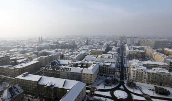 A view from a town hall tour shows the snow-covered city centre of the North Moravian town of Ostrava.