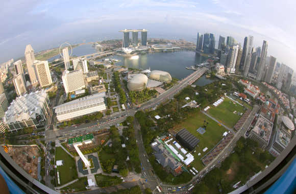 An aerial view of Marina Bay and Singapore's central business district.