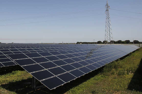 A solar power plant is pictured in Tuturano near Brindisi, southern Italy.