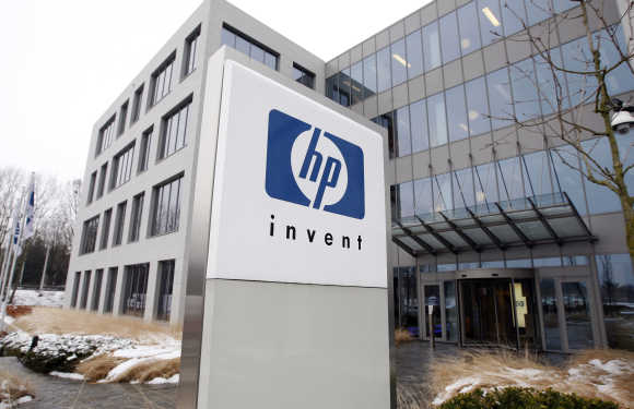 HP logo is seen outside Hewlett-Packard Belgian headquarters in Diegem.