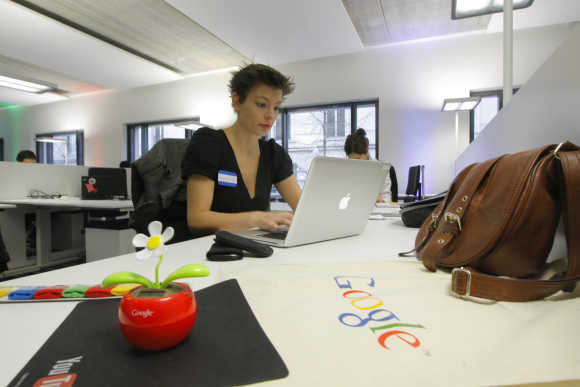 An employee at the headquarters of Google France in Paris.