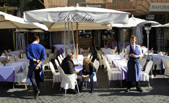 A restaurant in downtown Rome.