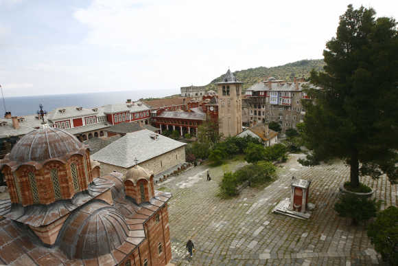 A view of the Vatopedi monastery is seen at Mount Athos.