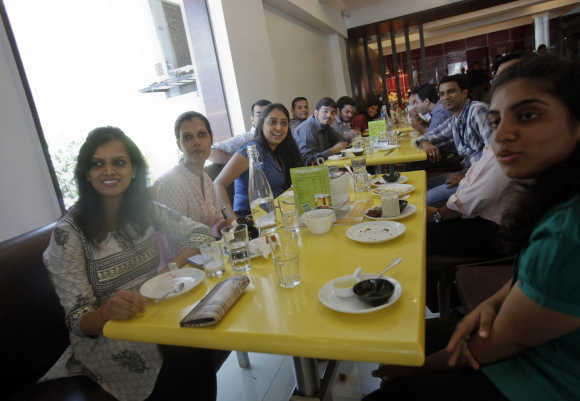 Guests eat at the Keys Hotel Nestor in Mumbai.