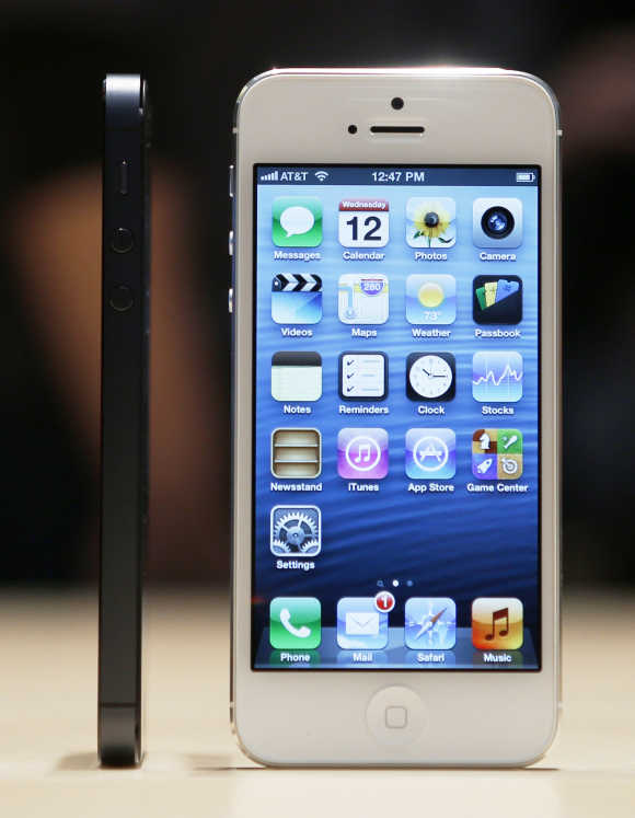 The iPhone 5 on display after its introduction during Apple's iPhone media event in San Francisco.