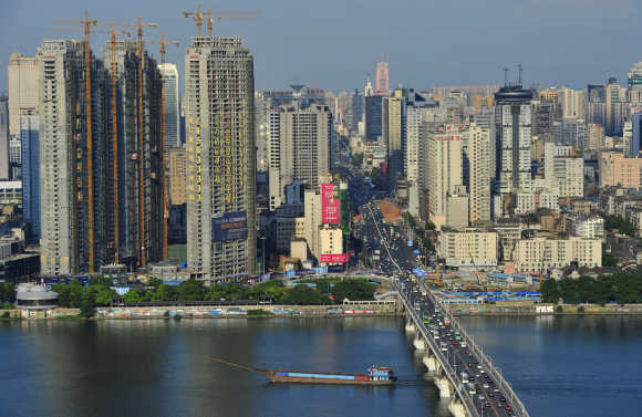 A view of Xiangjiang River in Changsha, Hunan province, China.