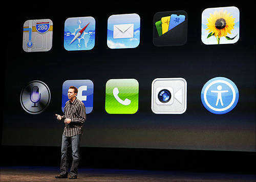 Scott Forstall, senior vice president of iOS Software at Apple Inc, speaks about iPhone5 apps during Apple Inc.'s iPhone media event in San Francisco, California.