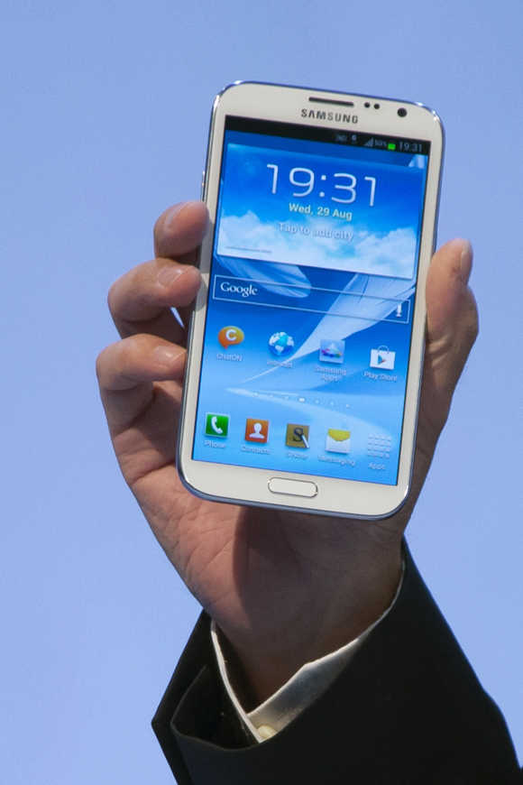 Samsung Galaxy Note II smartphone in Berlin.