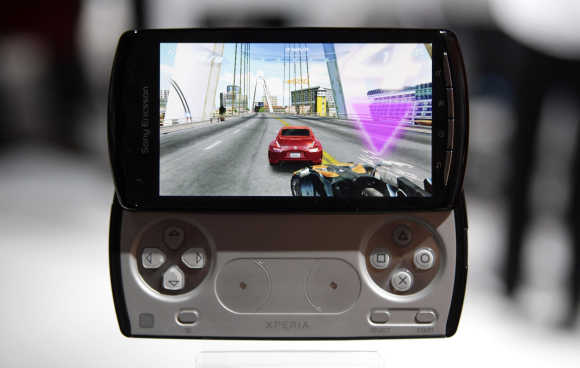 A Sony-Ericsson Xperia Play is displayed in Barcelona.