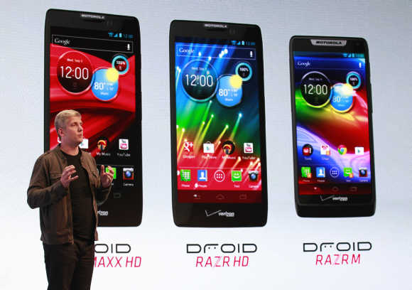 Senior vice-president for product management at Motorola Mobility Rick Osterloh introduces Motorola droid phones in New York.