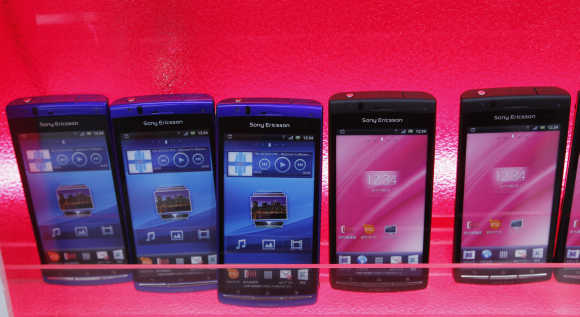 Sony Ericsson's smartphones are displayed at an electronics shop in Tokyo.