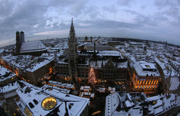 A view of Munich's townhall during the Christmas market.